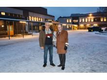 Prosjektleder Lasse Skaar i Undervisningsbygg og rektor Morten Sesseng ved Bøler skole.