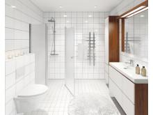 3D-visualisring av Atriumhusets badrum.