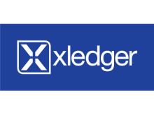 Xledger logo blå bakgrunn