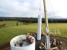 Parc éolien de Portes de la Côte d'Or - Levage mât d'éolienne