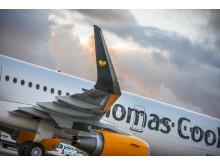 """Thomas Cook Airlines' nye A321-fly er på vingespidserne udstyret med """"sharklets"""", der skulle give flyet fire procent bedre brændstoføkonomi."""