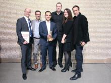 Stephan Schönherr, Holger Koos, Moritz Menacher, Achim Burmeister, Veronika Reiter og Michael Streicher (fra venstre) modtager på vegne af MAN iF Gold Award 2016