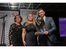 Hi-res image - Fischer Panda UK - Chris Fower, from Fischer Panda UK, receives the Young Business Person Award from Katina Read, editor at Boating Business (left), and Lyndsey Hall, Media Sales Manager at Boating Business