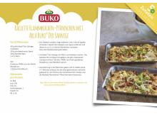 Rezeptkarte Raclette Flammkuchen Pfännchen mit Arla Buko® Der Sahnige