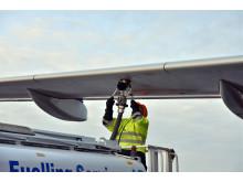 Refueling aircraft with biofuel at Stockholm Arlanda Airport, January 2017