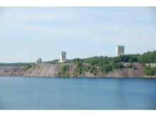 Gruvlavarna, anrikningsverket och det vattenfyllda dagbrottet i Grängesberg