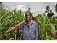 Francis planterar träd med stöd från Vi-skogen