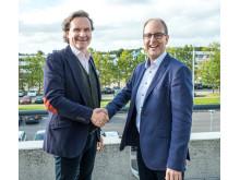 Stefan Lebrot, VD ELON Group och Jacob Bjerg Iversen, styrelseordförande Hvidt og Frit