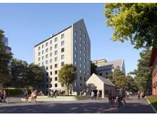 Skissbild 2, från Utopia Arkitekter för studentbostäder på KTH Campus