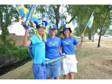 Heja fram Sverige på storbildskärm på Kungsbacka torg
