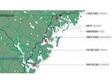 Kartan visar vart tidigare vindskydd är placerade och vart de tre nya kommer att stå.