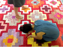 Unice rugs are created in the Re Rag Rug recycling project