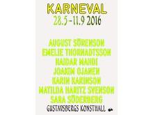 KARNEVAL. Utställningsaffisch. Grafisk form: Hanne Lindberg.