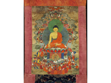 Thangka med Sakyamuni buddha. Østtibet, 18.-19. årh.
