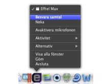 Besvara samtal i dock-menyn i Mac med Efftel Max Softphone