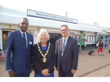Station improvement (from left) Station Manager Hilton Matereke, Mayor Cllr Brenda Batten and project manager Paul Best