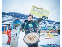 Mons Røisland til topps i Kreischberg. Foto: Snowboardforbundet