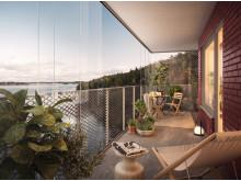 Balkong med utsikt, HSB brf Kajen