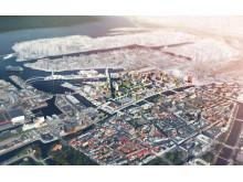 Flygvy över Nyhamnen i Malmö, visionsstudie av Sweco Architects