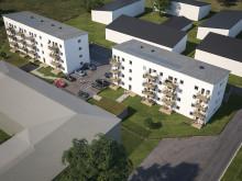 Översiktsillustration av de nya husen i BoKlok Triangelparken i Siggbo, Tierp