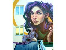 Muralmålning i Härnösand av Elina Metso