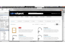 BIMobject extension (app) for Revit 2013 - screenshot of the BIMobject Portal inside Autodesk Revit