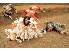 Lee Bul, Cravings (1989). Outdoor performance. Still from original performance. Photo courtesy: Studio Lee Bu