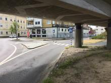 Nuvarande övergångsställ över Norra Strandsgatan vid undergången