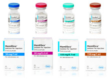 Pressbild, Hemlibra  injektionsflaskor och förpackningar
