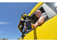 Peter Hensel, Lkw-Fahrer Hüer Transport und Logistik GmbH, mit der Scania Fahrer App