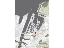 Kart som viser området hvor det nye hotellet kommer.