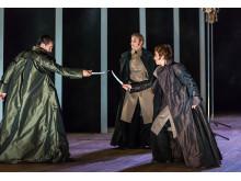 Press photo: Christophe Dumaux, Elisabeth Meyer, Raffaella Milanesi. Mitridate, Drottningholms Slottsteater 2014
