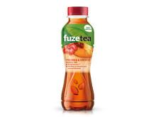 Yksi kolmesta Fuze Tea -uutuudesta: musta tee, persikka,  hibiscus eli kiinanruusu