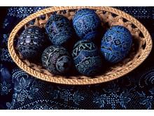 Sorbish Easter Eggs in blue print