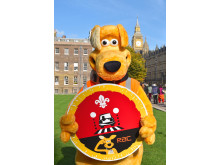 Horace with Cub Scouts Road Safety Awareness Champions badge in Westminster