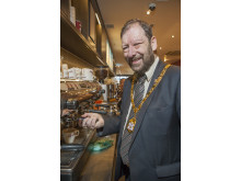 The Mayor of Milton Keynes, Cllr Brian White turned barista for the day