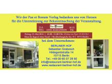 Wir der Pax et Bonum Verlag bedanken uns von Herzen bei  BERLINER HOF für die Unterstützung zur Bekanntmachung der Veranstaltung.
