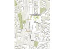 Tävlingsområdet: Arkitekttävlingen för utformning av Clemenstorget och Bangatan