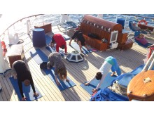 Yoga class on deck