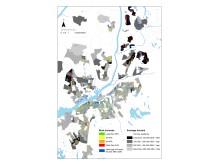 Beräknade hyreshöjningar och medelinkomst för alla flerfamiljshus i Göteborg