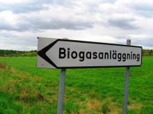 Biogasanläggning vägskylt