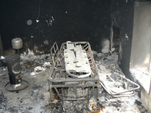 Förstörd klinik i Idlib