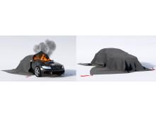 Brandfilt Bridgehill - släcker bilbranden
