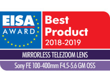 EISA Award Logo Sony FE 100-400mm F4.5-5.6 GM OSS