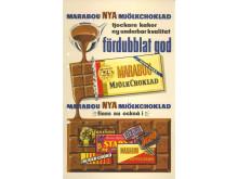 Reklambild för Marabous nya mjölkchoklad, 1957
