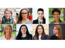 SSWS talare i oktober. Övre raden f v: Carolina Jonnor, Tuva Palm, Leila Karchaoui och Diana Paz. Nedre raden f v: Jeanette Lilja, Helena Lönegård, Apollonia San Contreras och Christina Persson.