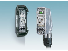 Modular plug-in connectors in snap-in frames