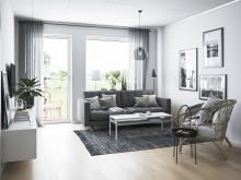 Illustration av interiör, vardagsrum, BoKlok-lägenhet 3 rok, 2019.