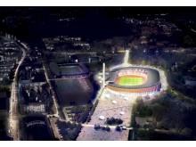 FI Olympic Stadium evening birdseye view