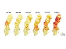 Kartor över antalet rapporterade fall av tularemi per 100 000 invånare per femårsperiod 1984 och 2012.